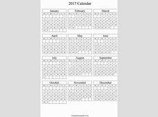 Annual Calendar 2017 Portrait Printable Calendar 2019, 2020