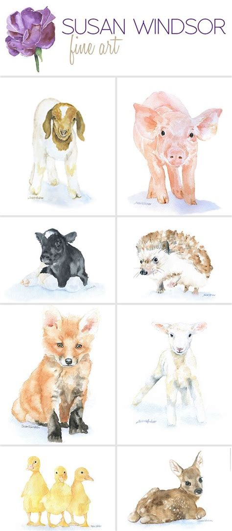 baby animal water color prints perfect   nursery