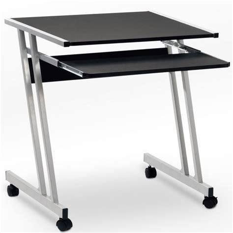 bureau pc ordinateur noir roulettes tiroir achat