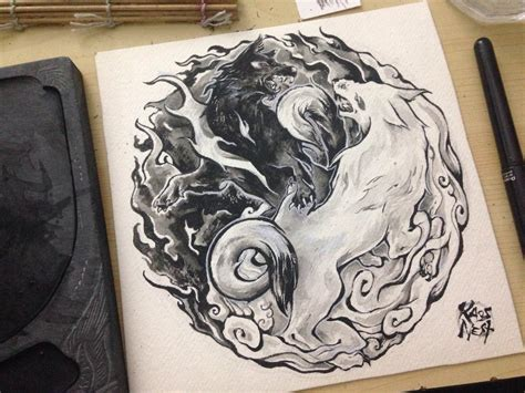 yinyang wolves tattoo design  kaos nest  deviantart
