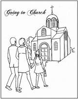 Sunday Coloring Church Going Pages Colouring Sheets Bible Activities Printable Forward sketch template