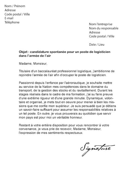 lettre de motivation arm 233 e de l air technicien de l air
