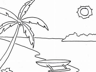 Pantai Gambar Sketsa Untuk Alam Sd Mewarnai