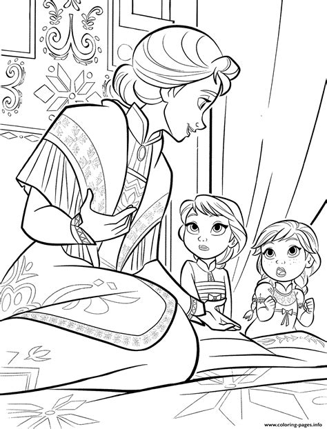 anna  elsa  mother coloring pages printable