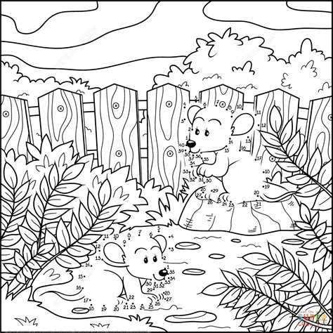 two mice in a garden dot to dot free printable coloring