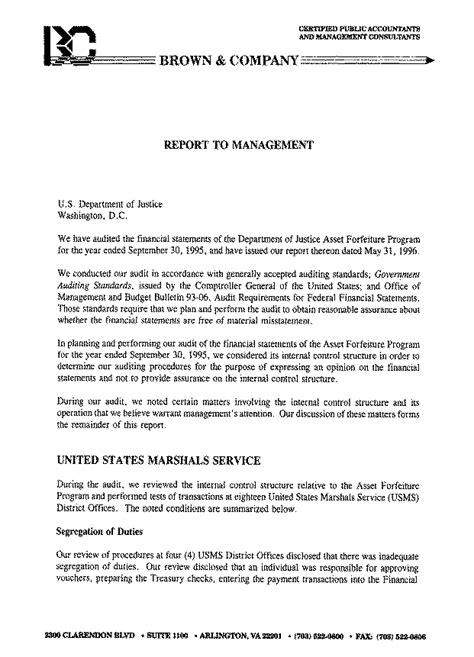audit management letter audit report 98 03 20526 | a98031