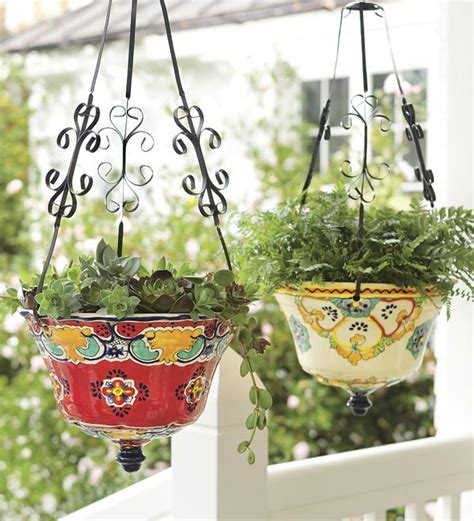 Outdoor Pottery Planters by Hanging Talavera Ceramic Planter In The Garden Ceramic