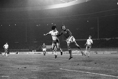 Kevin Keegan of England scores the first goal in a World ...