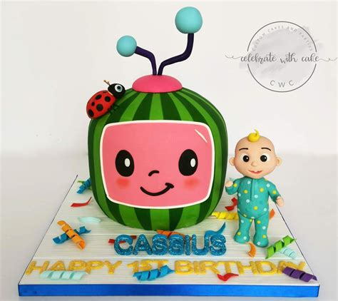 During transportation, please keep and hold cake. Celebrate with Cake!: 3D sculpted Cocomelon with Boy Cake