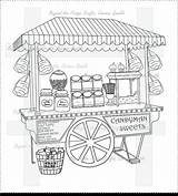 Candy Etsy Cart Digital Coloring Pages Stall sketch template