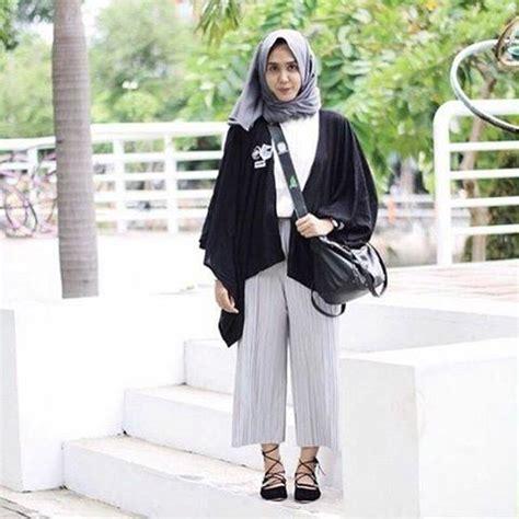 inspirasi padu padan celana kulot  hijabers muslim