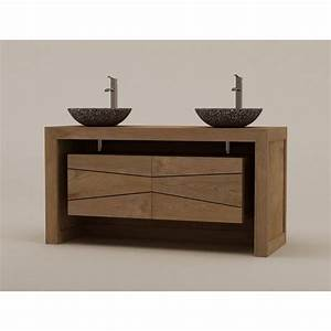 Meuble De Salle De Bain Double Vasque : meuble teck double vasque sentani pour salle de bain design kayumanis ~ Teatrodelosmanantiales.com Idées de Décoration