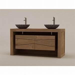 meuble teck double vasque sentani pour salle de bain With meuble salle de bain design teck