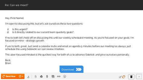 Scheduling A Meeting Email Template