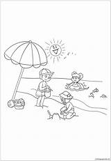 Playing Coloring Sprinkler Summer Template sketch template