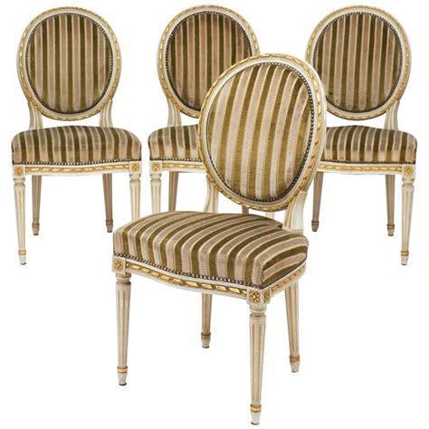 gold leaf striped velvet set of four antique louis xvi