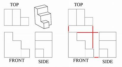 Side Drawing Views Orthographic Object Figure Cubes