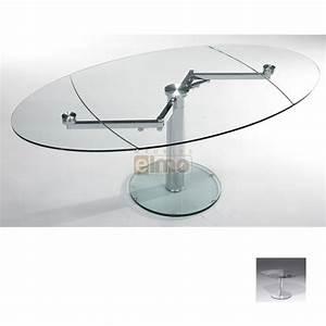 Table repas contemporaine extensible verre et acier EXTAND