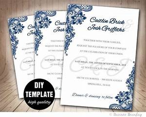 navy blue wedding invitation template diyinstant download With diy wedding invitations printing templates