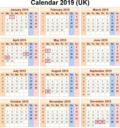 calendar uk bank holidays monthly