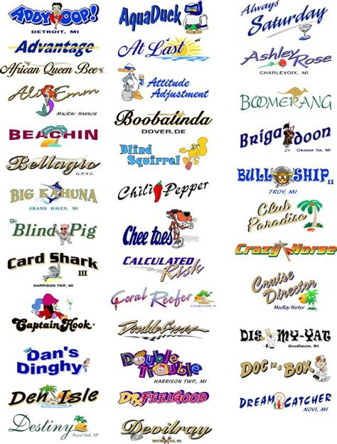 Boat Club Names by Boat Names And Graphics Boat Names