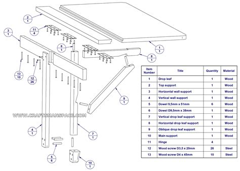 wall mounted drop leaf folding table parts list