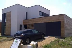 tendances bardage bois et crepi photo n 2 exterieur With ordinary photo maison toit plat 9 en pierre moderne toit plat tendance