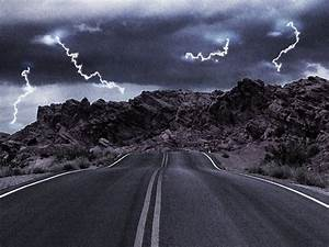 Rain Storm Road Lightning