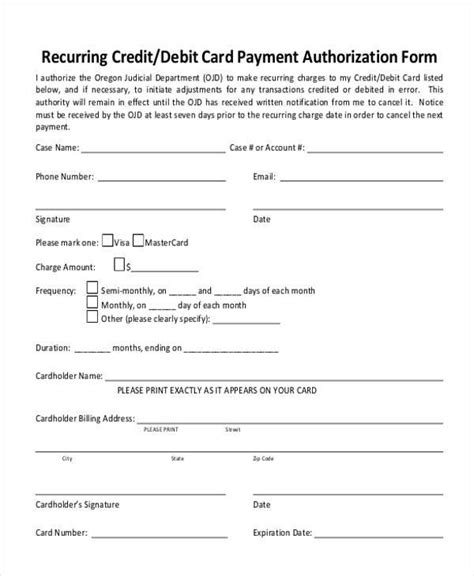 credit card on file authorization form template authorization form templates