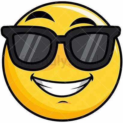 Smiley Sunglasses Cool Emoji Cartoon Clipart Yellow