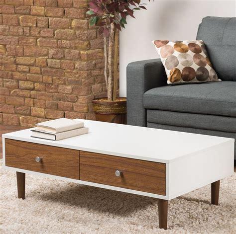 white coffee table storage drawer modern wood furniture