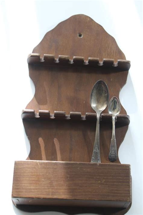 vintage wood wall mount spoon holder rustic pine rack  collectible spoons