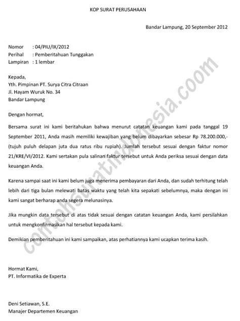 surat pemberitahuan contoh surat indonesia