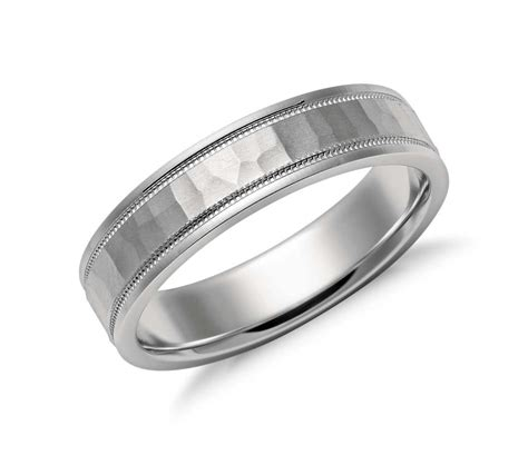 comfort fit ring hammered milgrain comfort fit wedding ring in platinum