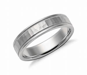 hammered milgrain comfort fit wedding ring in platinum With milgrain wedding ring
