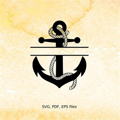 split anchor monogram svg rope nautical split monogram