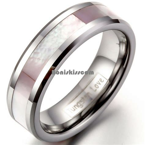 pink shell inlay tungsten carbide ring womens engagement wedding band ebay