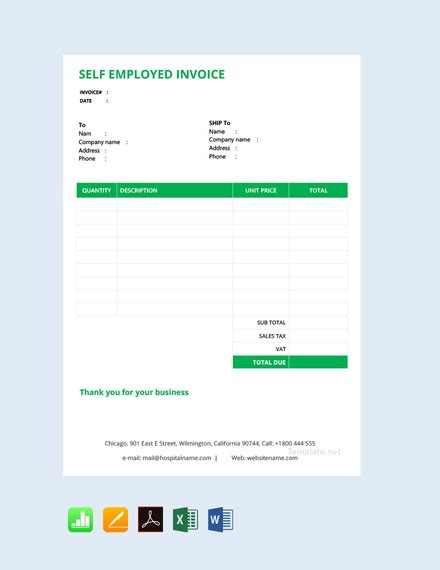 employed invoice template  word
