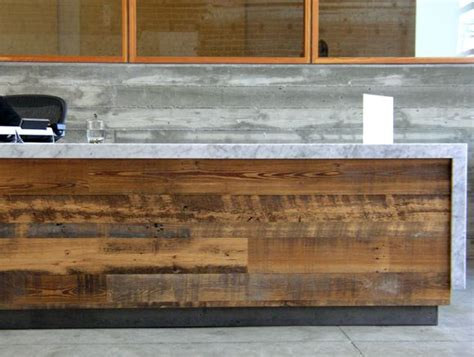 reclaimed wood reception desk recycled wood marble top reception desk reception area 4536