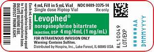 DailyMed - LEVOPHED- norepinephrine bitartrate injection, solution, concentrate Norepinephrine Injection