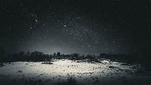 Wallpaper, 1920x1080, Px, Black, Dark, Landscape, Night, Sky, Snow, Stars, Trees, 1920x1080