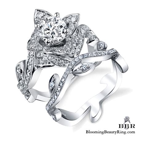 lotus ring with leaves 1 22 ctw flower engagement