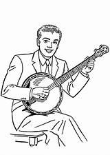 Banjo Colorear Dibujo Disegno Malvorlage Tocando Colorare Dibujos Kleurplaat Instrumentos Homem Musicais Colorir Desenho Banjos Kleurplaten Instrument Drawing Ausmalbilder sketch template