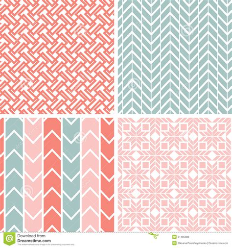 Grey And White Chevron Fabric by Set Of Four Gray Pink Geometric Patterns And Royalty Free