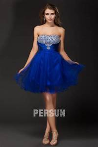Robe Bal De Promo Courte : robe bleu courte bustier sans bretelle en tulle orn e de bijoux ~ Nature-et-papiers.com Idées de Décoration