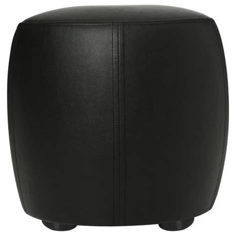 pouf rond simili cuir noir 31 5cm