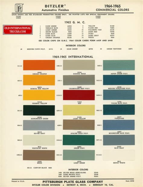 1964 1964 standard colors color charts old