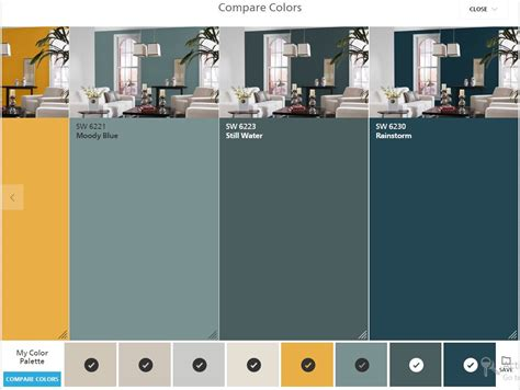 sherwin williams colorsnap compare colors moody blue