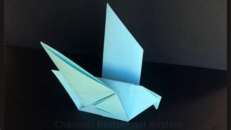 vogel basteln aus papier origami taube falten mit papier einfachen diy vogel basteln mit kinder tiere ideen