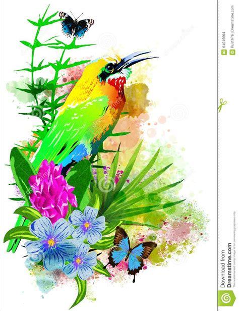 cuisiner avec des fleurs oiseau tropical avec des fleurs illustration stock